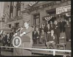 John F. Kennedy makes a speech in front of City Hall, Newark, N.J.