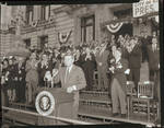 John F. Kennedy receives applause from Peter W. Rodino and others, City Hall, Newark, N.J.