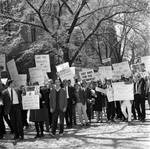 Protesters at the Lyndon B. Johnson event, Princeton University