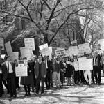 Protesters at the Lyndon B. Johnson event, Princeton University