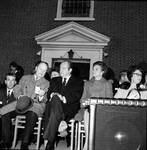 Hubert Humphrey waits to make a speech