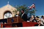 Ace Alagna and speaker on the dias at the 1995 Columbus Day Parade