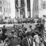 Spectators at RFK funeral across 5th Avenue from St. Patrick's Cathedral, New York City