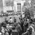 Spectators and press pool at RFK funeral at St. Patrick's Cathedral, New York City