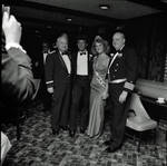 Miss Columbus 1984 poses with man, Frankie Avalon and Captain Azzolina