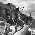 Grand Marshall Tommy LaSorda and Ace Alagna ride in the 1989 Columbus Day Parade