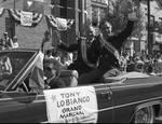 Grand Marshall Tony LoBianco and Ace Alagna ride in the 1990 Columbus Day Parade