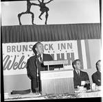 Vice President Hubert Humphrey delivers a speech at the Brunswick Inn during 1966 tour of New Jersey by Ace (Armando) Alagna, 1925-2000