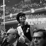 A Hubert Humphrey supporter at the 1968 Democratic National Convention, Chicago, Illinois