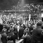 The convention floor at the 1968 Democratic National Convention, Chicago, Illinois