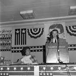Betty Hughes listens to a speech at the Palmer House Hotel during the 1968 Democratic National Convention, Chicago, Illinois