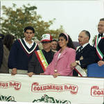 Grand Marshall Joe Pesci at the 1992 Columbus Day Parade with Ace Alagna and others watching the parade