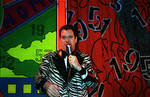 Joe Piscopo, Grease Show, on stage with mic