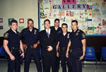 Joe Piscopo with group of Newark Police officers at Boys and Girls Club event