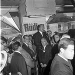 Hubert Humphrey speaks at a re-elect Rodino event while Governor Richard Hughes, Ann Rodino, Peter W. Rodino and others listen