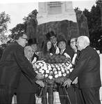 Peter W. Rodino, Governor Richard Hughes and others lay a wreath in front of the Christopher Columbus statue in Newark, NJ