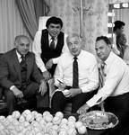 Joe Di Maggio signing baseballs with Ace Alagna and others