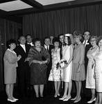 Eydie Gorme and Steve Lawrence with bride and groom and group at Westwood Restaurant