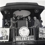 Peter W. Rodino, Richard Hughes and others wave from the Democratic Party campaign train