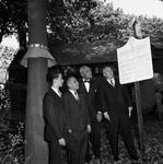 Peter W. Rodino and others outside Sydenham House, Newark, N.J.