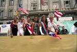 Contestants wave from the dais in the 1995 Puerto Rican Parade