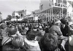 View of the podium from the crowd during the Inauguration for President Ronald Reagan, Washington D.C.