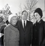 Vice-President Hubert Humphrey, and Muriel Humphrey  speak with guests during visit to Liberty Island for signing of 1965 Immigration Bill