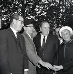 Governor Richard Hughes, Vice-President Hubert Humphrey, Muriel Humphrey,  during visit to Liberty Island for signing of the 1965 Immigration Bill