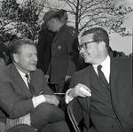 Governor Richard Hughes converses during a visit to Liberty Island for signing of the 1965 Immigration Bill