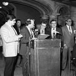 Frankie Valli is presented with a plaque at Newark, NJ City Hall, Frankie Valli Day celebration