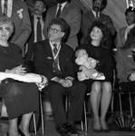 Frankie Valli, wife Randy Valli and young child, at Frankie Valli Day celebration, Newark, NJ City Hall
