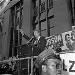 President Jimmy Carter speaks during a visit to Newark, NJ
