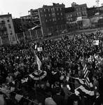 A view of the crowd listening to a speech by Hubert Humphrey during the 1968 campaign
