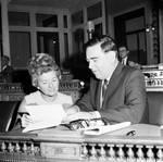 NJ Assemblyman Walter J. Vohdin speaking to woman in House