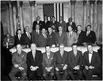 NJ state legislators pose in the Senate Chamber