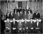NJ state legislators pose in the Senate Chamber