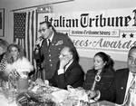 Miss Columbus Day 1991 and others listen to speeches during the Awards Dinner at Mayfair Farms during the 1991 Columbus Day Parade