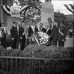 Buddy Fortunato, Peter W. Rodino, Ace Alagna, Tom Kean, Sergio Franchi and others lay a wreath in front of the Christopher Columbus statue during the 1985 Columbus Day Parade, Newark, NJ