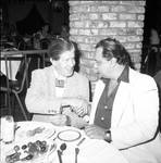 Rudy Vallee shakes hands with Ace Alagna