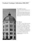 Graduate Catalogue Addendum 2006-2007