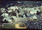Aerial view of McQuaid Hall, Boland Hall, McLaughlin Library , Bayley Hall, McNulty Hall, Immaculate Conception Seminary, Alumni Hall, Chapel, President's Hall, Mooney Hall, Student Center, Duffy Hall, Xavier Hall