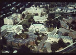 Aerial view of Corrigan, McQuaid Hall, West Res. (Aquinas), Bayley Hall, McLaughlin Library, Boland Hall, Student Center, Chapel, President's Hall and McNulty Hall