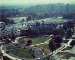 Aerial view of Mooney Hall, President's Hall, Chapel, and Seminary with Ivy Hill apartments in far right corner