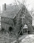 Photo of exterior angled view of Alumni Hall (without porch), date unknown
