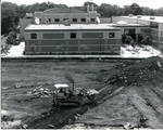 Excavation for Walsh Library facing Walsh Gym