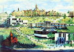 Painting of campus buildings by Tony Triano